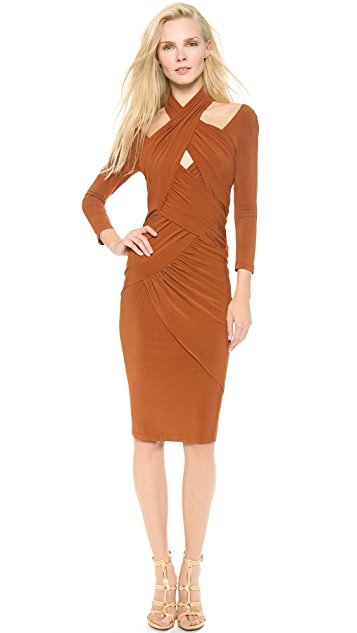 Donna Karan New York Draped 3/4 Sleeve Dress
