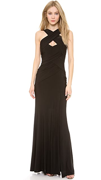 Donna Karan New York Sleeveless Halter Draped Gown