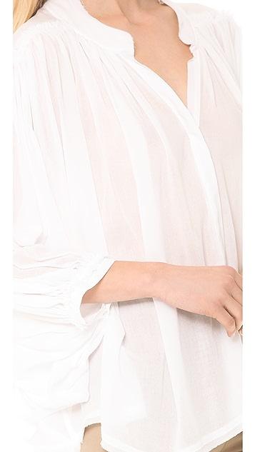 Donna Karan New York Button Front Flared Top