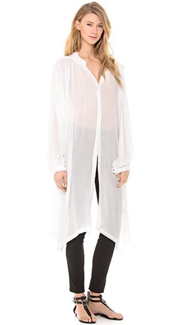 Donna Karan New York Long Sleeve Button Front Tunic