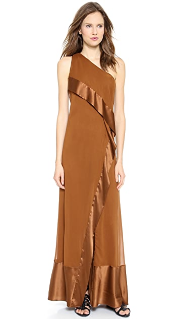 Donna Karan New York One Shoulder Cascade Evening Gown