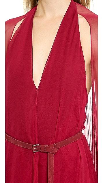Donna Karan New York Asymmetrical Evening Gown with Belt
