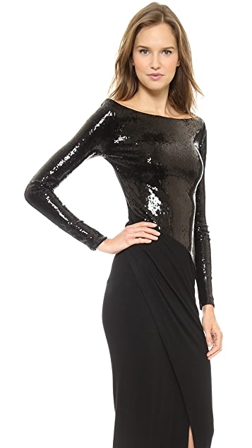 Donna Karan New York Long Sleeve Bateau Gown