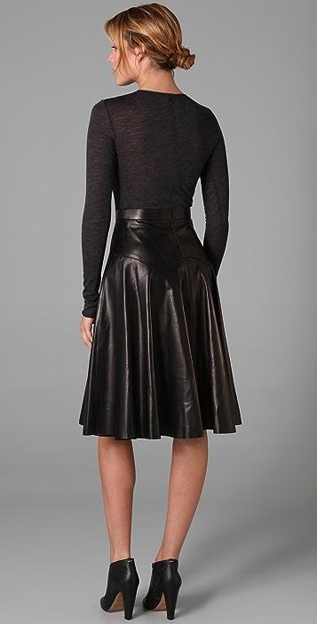 Derek Lam Long Sleeve Leather Dress with Jersey Bodice