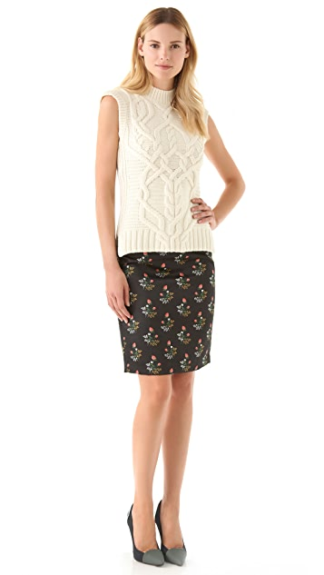 Derek Lam Floral Satin Pencil Skirt