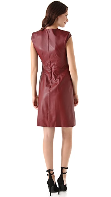 Derek Lam Leather Cap Sleeve Dress