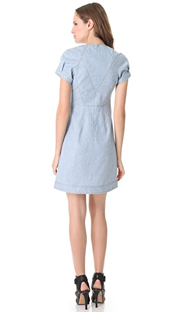 Derek Lam Chambray Cap Sleeve Dress