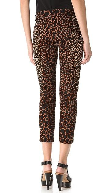 Derek Lam Giraffe Print Cropped Trousers
