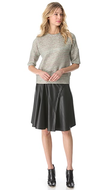 Derek Lam Faux Leather Circle Skirt