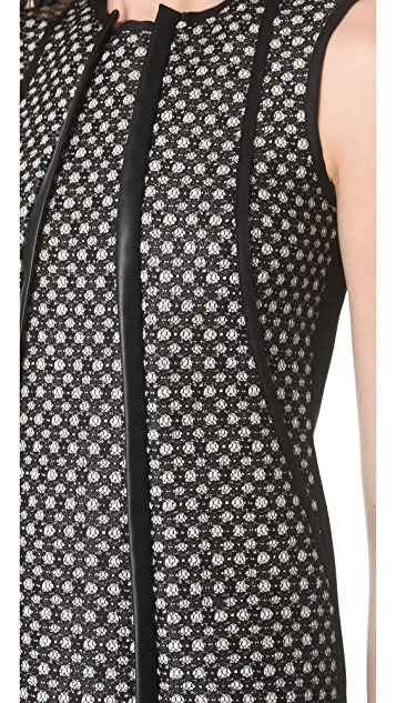 Derek Lam Lace Tank with Faux Leather Piping