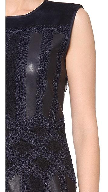 Derek Lam Crochet Dress with Fringe Hem