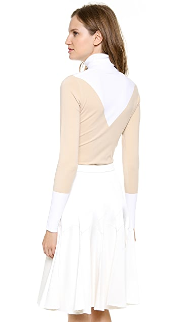 Derek Lam Jersey Bicolor Turtleneck Sweater