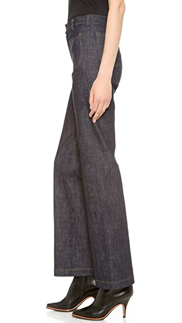 Derek Lam Washed Wide Leg Jeans