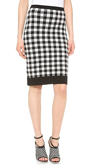 Derek Lam Plaid Double Knit Skirt