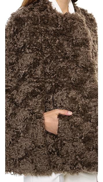 Derek Lam Mohair Faux Fur Cape