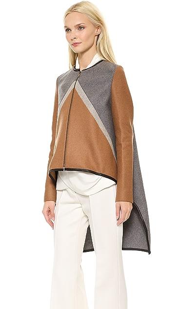 Derek Lam Zip Cape Jacket with Leather Trim
