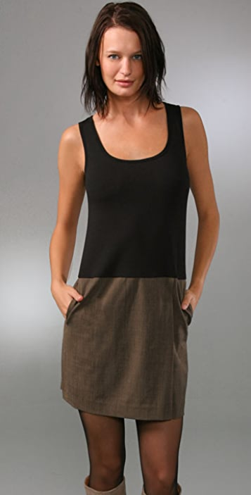 DKNY Tank Dress with Wrap Skirt Detail