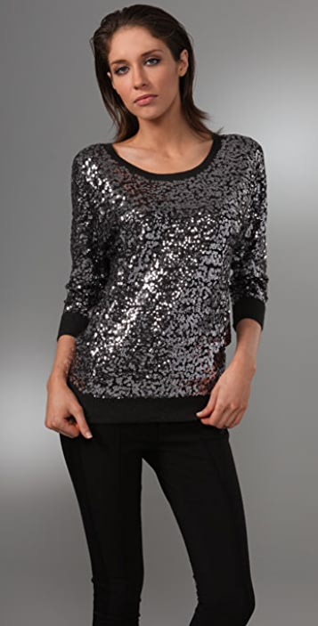 DKNY Dolman Sleeve Sequin Sweater