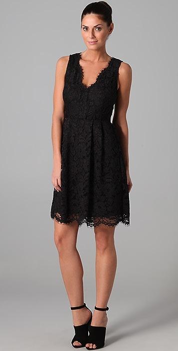 DKNY Lace Dress with Scalloped Hem