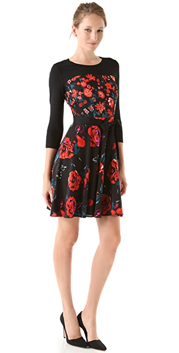 DKNY 3/4 Sleeve Floral Dress
