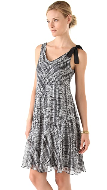 DKNY pure DKNY V-Neck Flutter Hem Dress