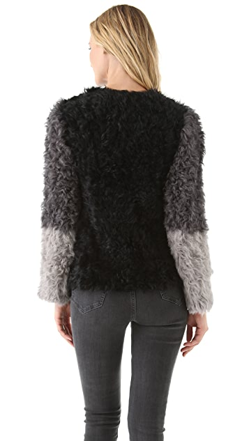 DKNY Colorblock Stretch Shearling Coat
