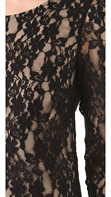 DKNY 3/4 Sleeve Lace Dress