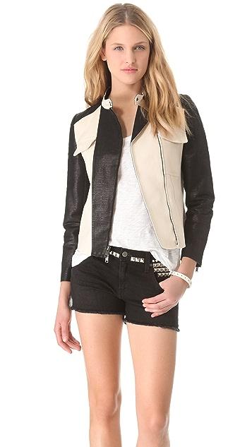 DKNY Zip Front Moto Jacket