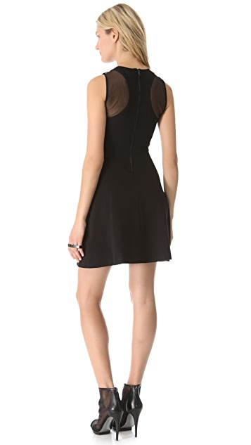 DKNY Racer Back Dress with Mesh Yoke