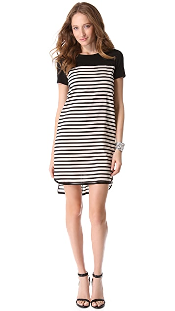 DKNY Stripe Trim Short Sleeve Dress