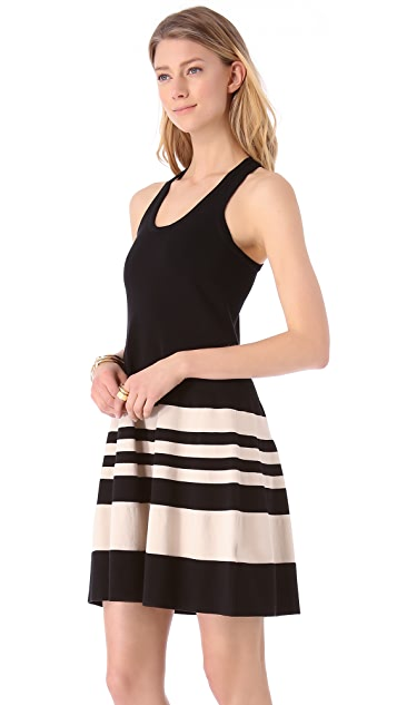 DKNY Striped Racer Back Dress