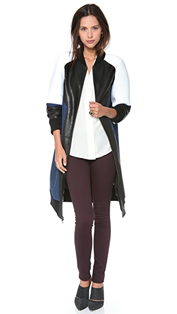 DKNY Colorblock Mixed Media Varsity Coat