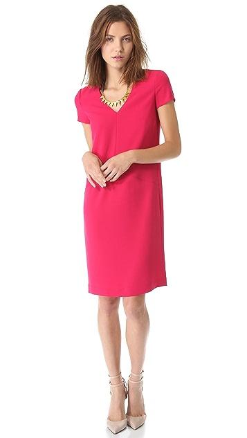 DKNY V Neck Dress with Seam Details