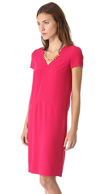 DKNY V Neck Dress with Seam Details
