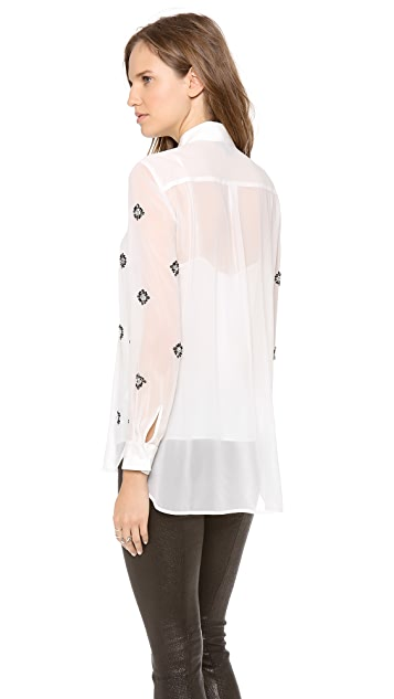 DKNY Embellished Long Sleeve Blouse