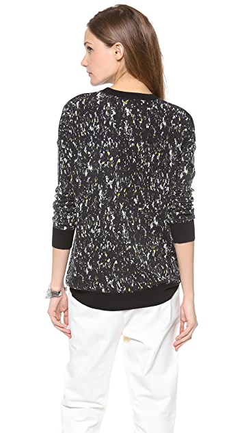 DKNY Printed Crew Neck Pullover