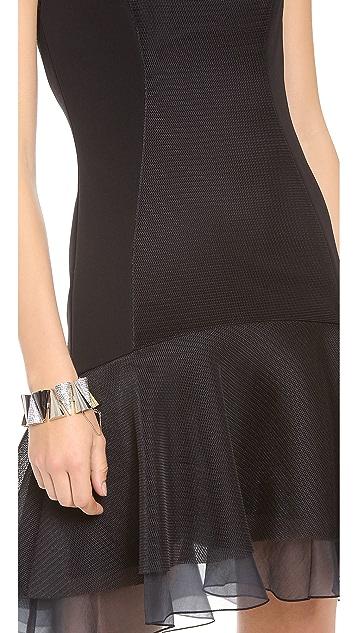 DKNY Flounce Dress with Organza Hem