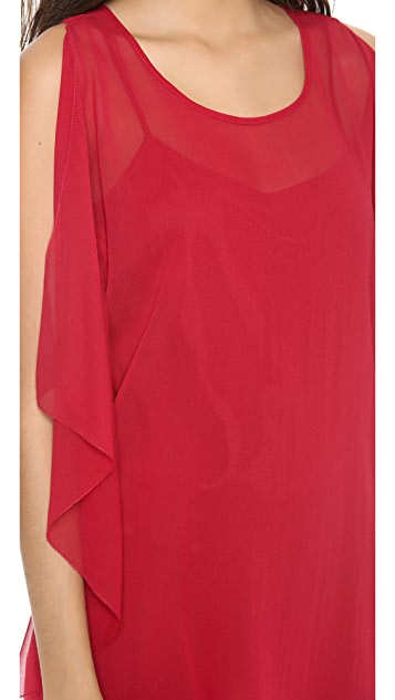 DKNY Flutter Side Sleeveless Top
