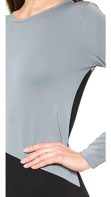DKNY Colorblocked Long Sleeve Dress
