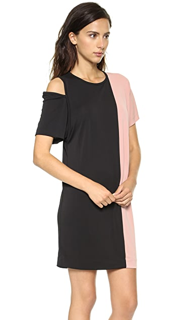 DKNY Short Sleeve Colorblock Dress