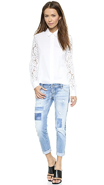 DKNY Long Sleeve Shirt with Lace Sleeves