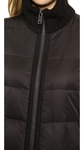 DKNY Puffer Coat with Knit Sleeves