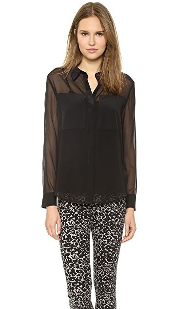 DKNY Long Sleeve Button Front Blouse