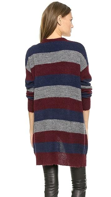 DKNY Striped Drop Shoulder Cardigan