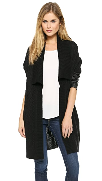 Dkny Pure Dkny Cardigan With Leather Sleeves Shopbop