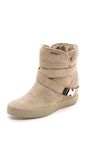 DKNY Catherine Shearling Wedge Booties