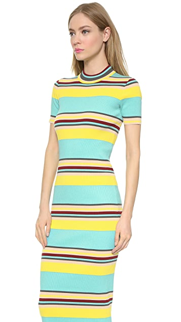 DKNY Striped Short Sleeve Dress
