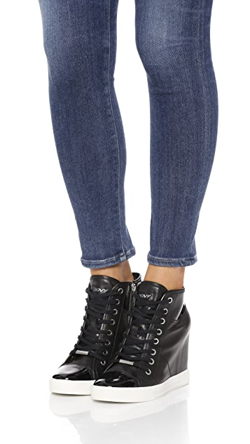 DKNY Grommet Zip Wedge Sneakers