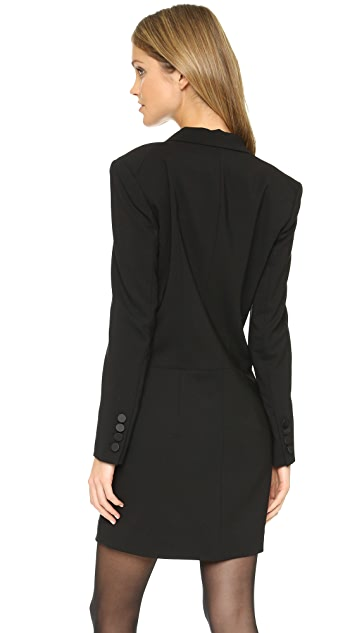 DKNY Long Sleeve Tuxedo Dress