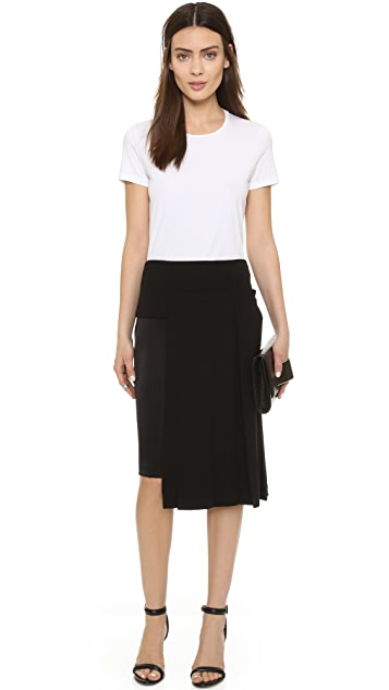 DKNY Skirt with Pleated Overlay